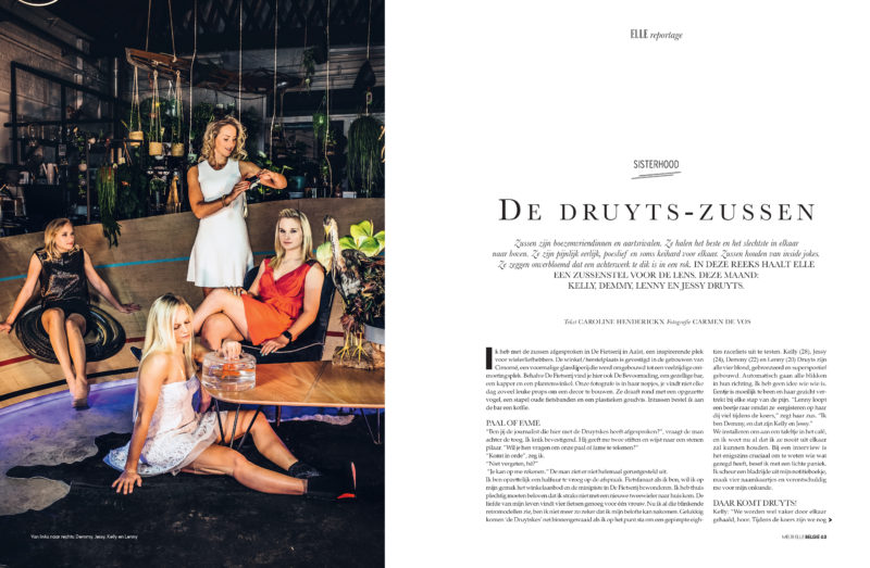 Carmen De Vos shoots Druyts sisters for Elle Belgium.