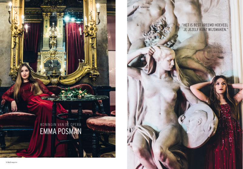 Carmen De Vos shoots Emma Posman soprano for Elle Belgium.